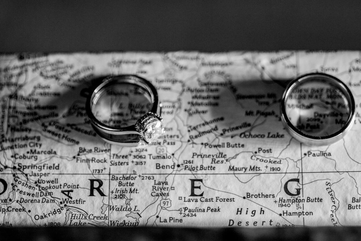 Macro shot of rings on map of Oregon. Black and White.