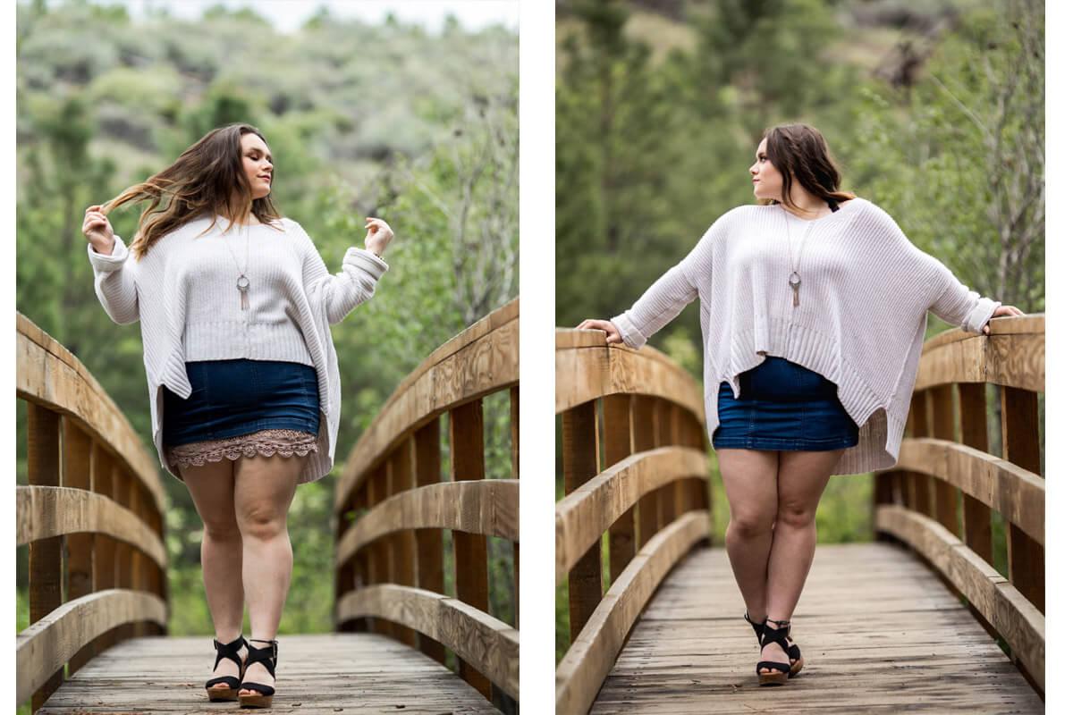 Teen girl walking and posing on wooden bridge.