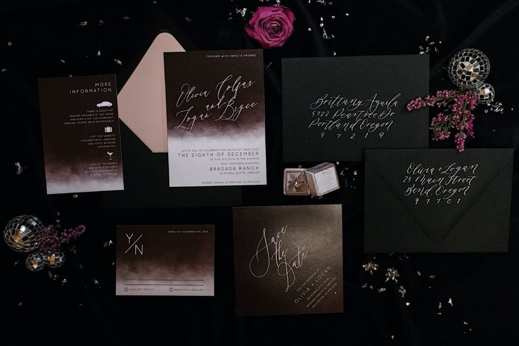 Wedding invitation suite for a moody, winter wedding.