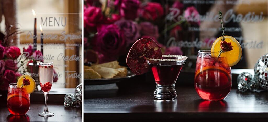 Champagne and pomegranate cocktails by Brasada Ranch.