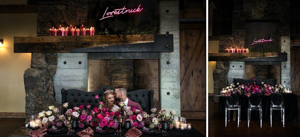 Romantic, moody bride and groom wedding table.