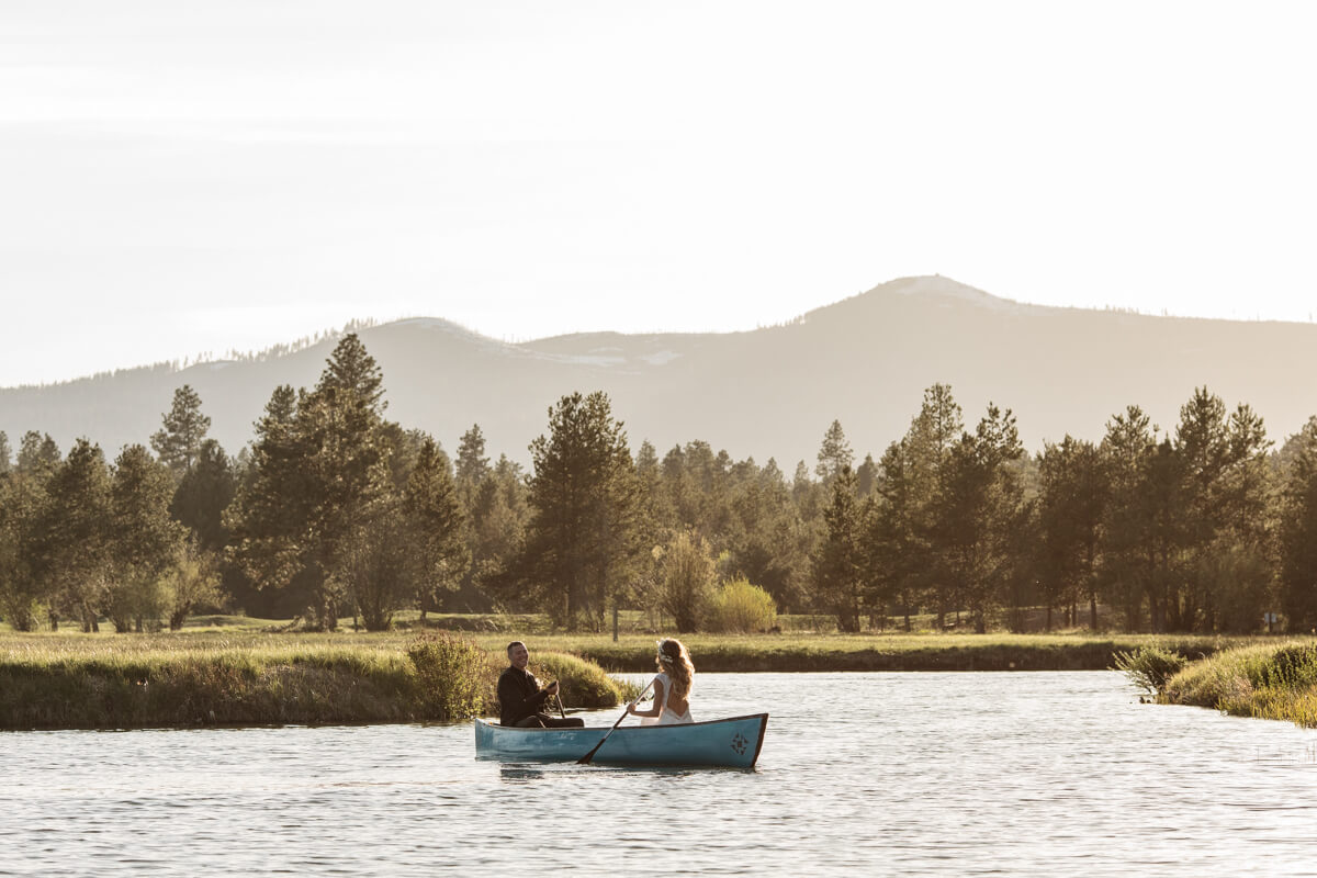 Boho Couple in canoe at Black Butte Ranch.