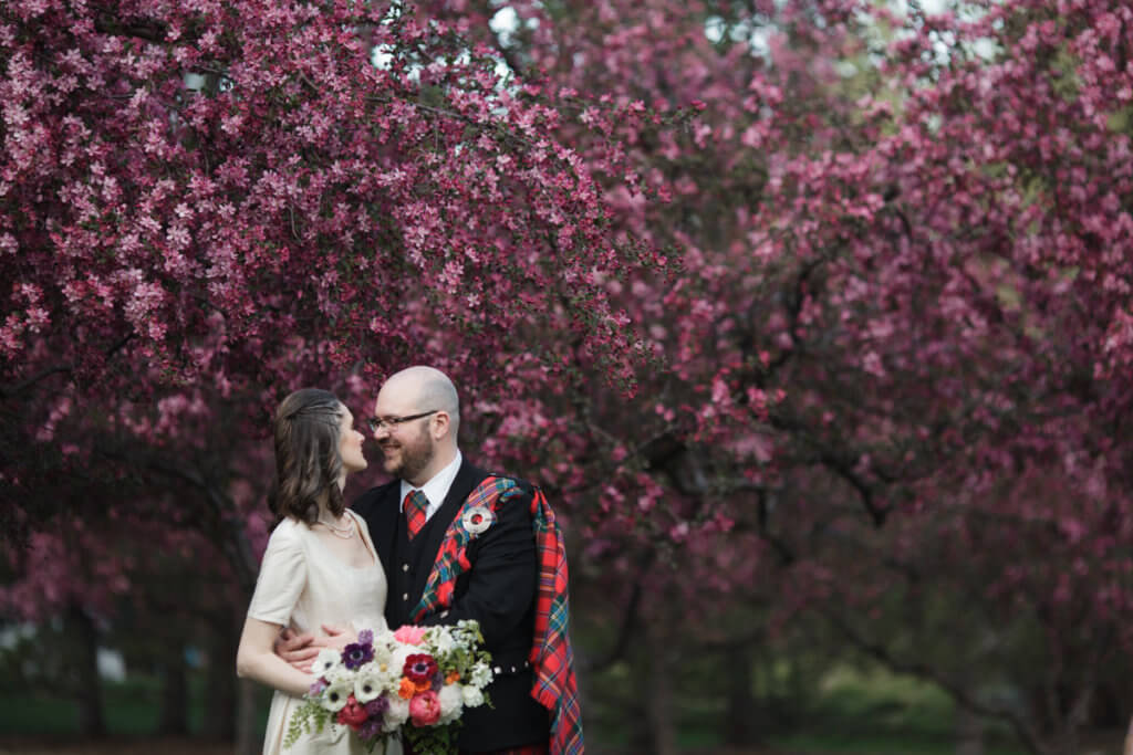 Blooms in Spring with wedding couple.