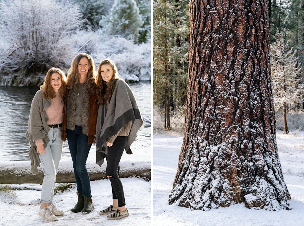 Picture on left of mother and two daughters. Right image of a snowy tree trunk.
