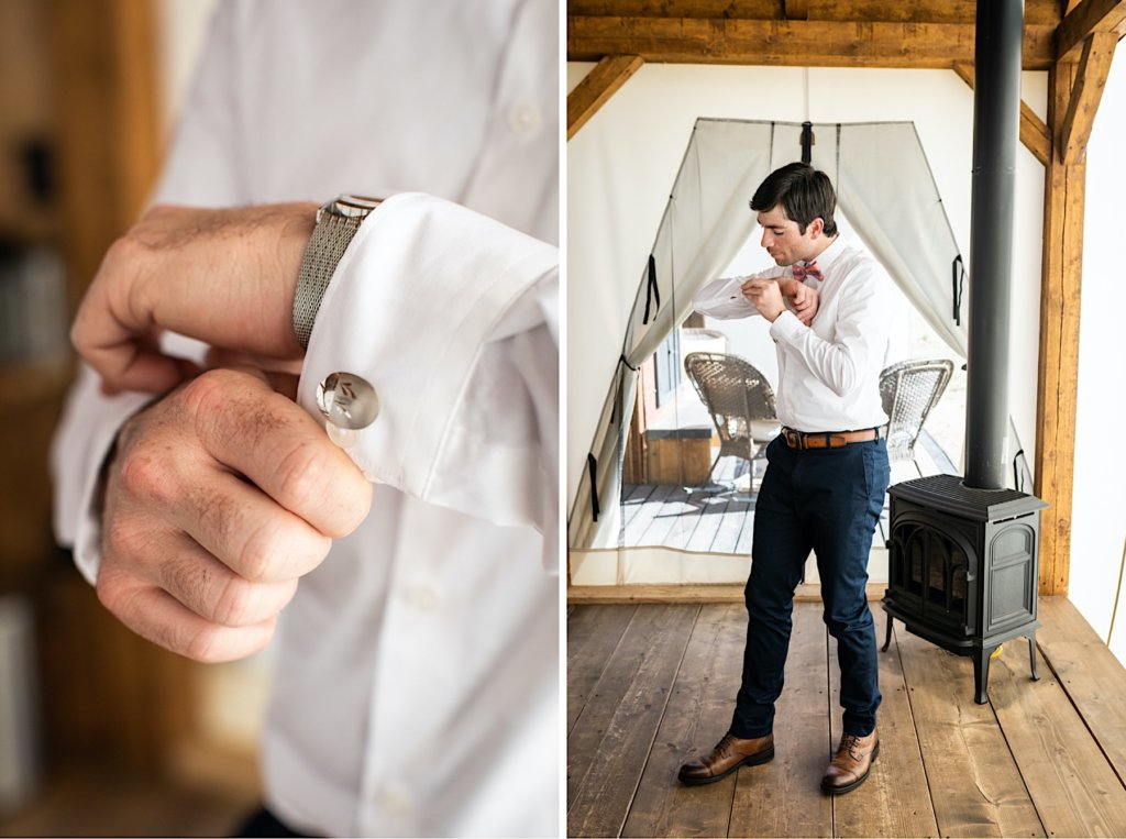 Groom putting on cufflinks.