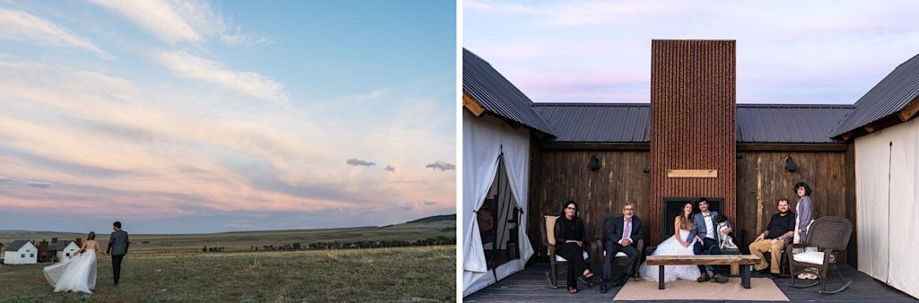 The couple walks towards the glamping tents and a second image their family portrait.