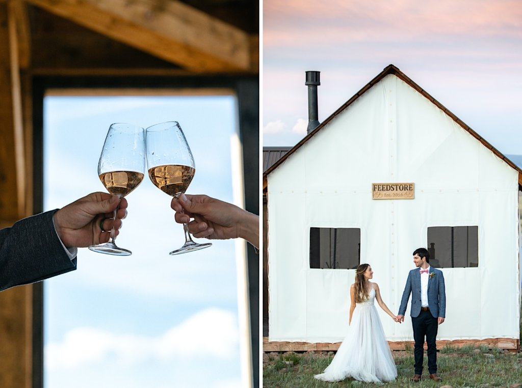 Wine glasses clinking. With second image of a portrait of the couple holding hands in front of the canvas front cabin.